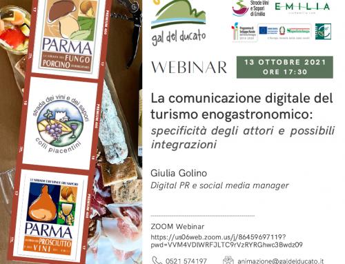 """WEBINAR – """"La comunicazione digitale del turismo gastronomico"""" – 13 ottobre 2021 – Ore 17,30"""