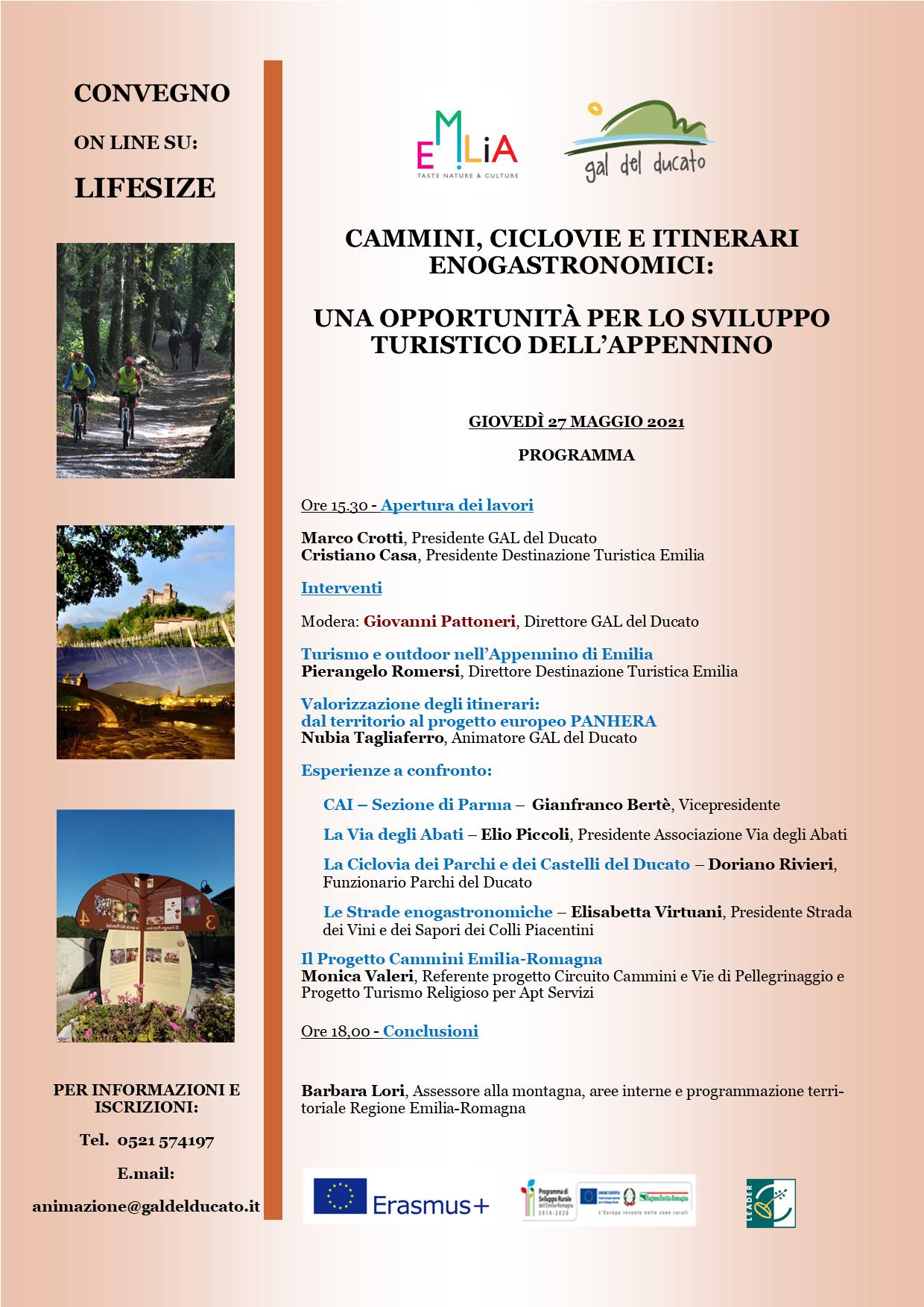 Convegno 27 Maggio 2021 – Cammini, ciclovie e itinerari enogastronomici: una opportunità per lo sviluppo dell'Appennino