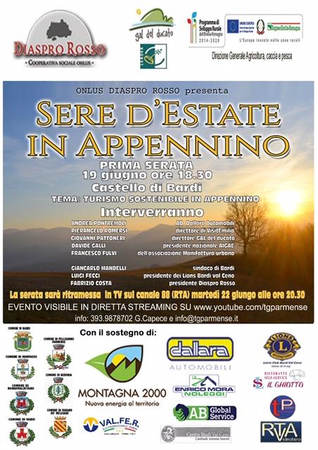 """Evento """"Turismo sostenibile in Appennino"""" – sabato 19 giugno, ore 18.30 – Castello di Bardi"""